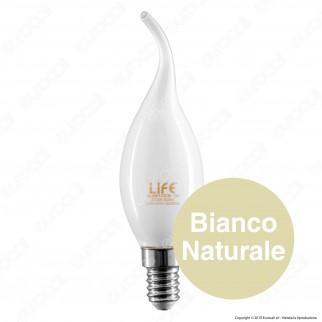 Life Lampadina LED E14 6W Candela Fiamma Milky Filamento - mod. 39.920123CM / 39.920123NM