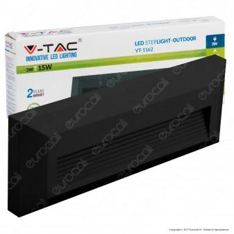 V-Tac VT-1162 Faretto Segnapasso LED a Montaggio Superficiale Rettangolare 3W per Esterno Colore Nero- SKU 1329 / 1328