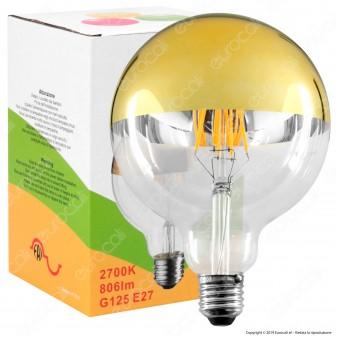 FAI Lampadina E27 Filamenti LED 8W Globo G125 con Calotta Dorata Dimmerabile - mod. 5262/CA/ORO