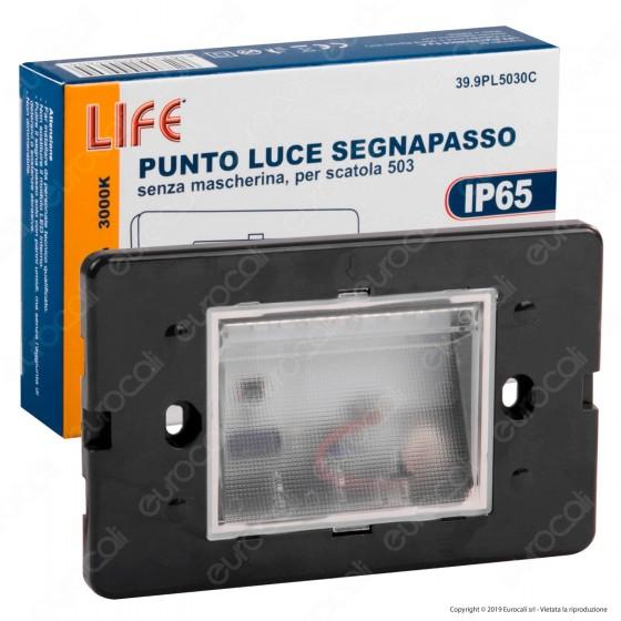 Life Punto Luce Segnapasso LED Montaggio a Incasso Quadrato 2W IP65 Colore Nero - mod. 39.9PL5030C / 39.9PL5030N