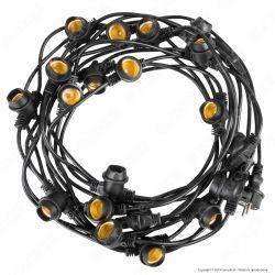 FAI Catenaria 11 metri per 20 Lampadine LED E27 Colore Nero per Esterno - mod. 3062/20/NER