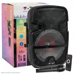 V-Tac Audio VT-6208 Soundor 8 Cassa Attiva 15W Wireless con Bluetooth Karaoke LED RGB Telecomando e Microfono - SKU 7735