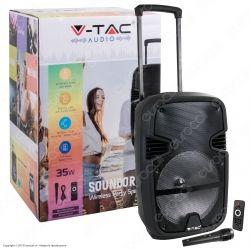 V-Tac Audio VT-6212 Soundor 12 Trolley Cassa Attiva 35W con Bluetooth Karaoke LED RGB Telecomando e Microfono - SKU 7736