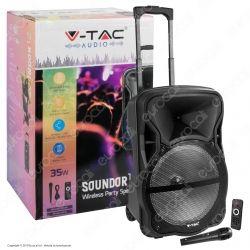 V-Tac Audio VT-6312 Soundor 12 Trolley Cassa Attiva 35W con Bluetooth Karaoke LED RGB Telecomando e Microfono - SKU 7737