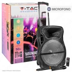 V-Tac Audio VT-6315 Soundor 15 Trolley Cassa Attiva 50W con Bluetooth Karaoke LED RGB Telecomando e Microfoni