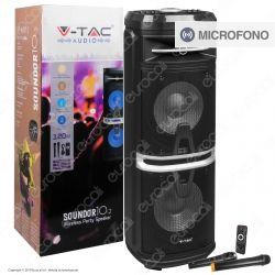 V-Tac Audio VT-6210-2 Soundor 10x2 Cassa Attiva 120W con Bluetooth Karaoke LED RGB Telecomando e Microfoni - SKU 7734