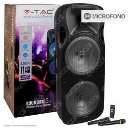 V-Tac Audio VT-6215-2 Soundor 15x2 Cassa Attiva 150W con Bluetooth Karaoke LED RGB Telecomando e Microfoni - SKU 7733