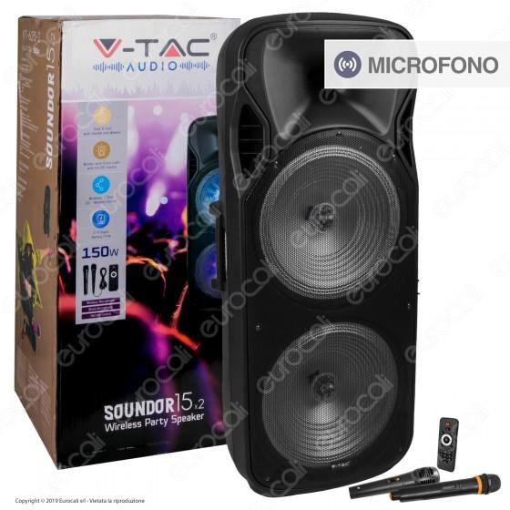 V-Tac Audio VT-6215-2 Soundor 15x2 Cassa Attiva 150W