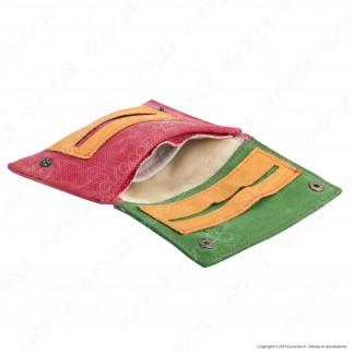 Il Morello Classic Portatabacco in Vera Pelle Jamaica Verde Gialla e Tessuto Jeans Rosso