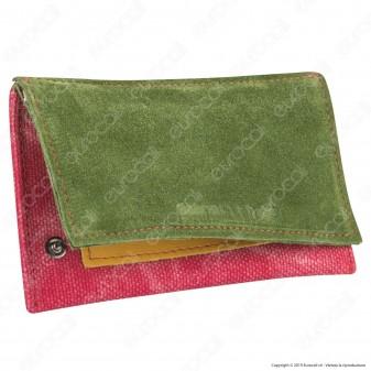 Il Morello Classic Portatabacco in Vera Pelle Jamaica Verde Scura Gialla e Tessuto Jeans Rosso