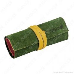 Il Morello Large Portatabacco in Vera Pelle Scamosciata Verde Rossa e Gialla con Tasca Trama Scozzese