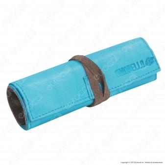 Il Morello Large Portatabacco in Vera Pelle Azzurra e Marrone