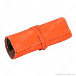Il Morello Large Portatabacco in Vera Pelle Arancione e Mimetico