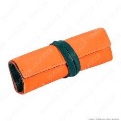 Il Morello Large Portatabacco in Vera Pelle Arancione e Verde Scuro con Taschina Tessuto Fantasia