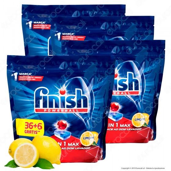 Finish Powerball Tutto in 1 Max al Limone per Lavastoviglie - 5 Confezioni da 42 Pastiglie