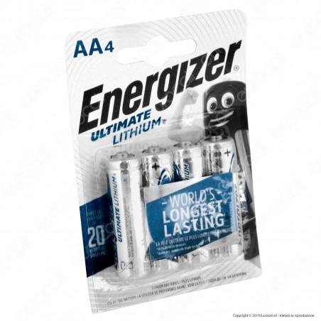 Energizer Ultimate Lithium Stilo Litio AA LR6 - Blister 4 Batterie