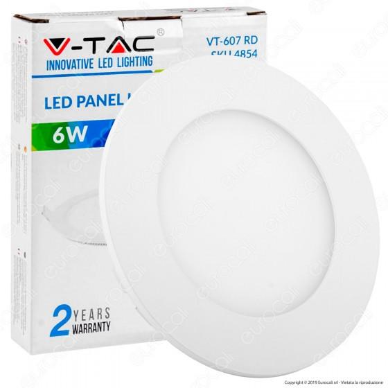 V-Tac VT-607 RD Pannello LED Rotondo 6W SMD da Incasso con Driver - SKU 4854 / 4855 / 4856