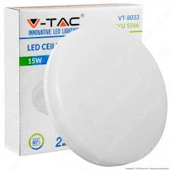 V-Tac VT-8033 Plafoniera LED 15W Forma Circolare Colore Bianco - SKU 1388 / 5566 / 1389