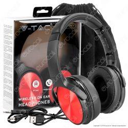 V-Tac VT-6322 Cuffie Wireless a Padiglione Bluetooth con Microfono e Jack 3,5mm Colore Rosso - SKU 7729