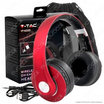 V-Tac VT-6322 Cuffie Wireless a Padiglione Bluetooth con Microfono e Jack 3,5mm Colore Rosso - SKU 7731