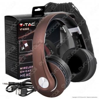 V-Tac VT-6322 Cuffie Wireless a Padiglione Bluetooth con Microfono e Jack 3,5mm Colore Marrone - SKU 7732