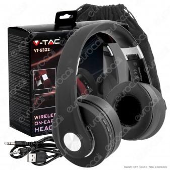 V-Tac VT-6322 Cuffie Wireless a Padiglione Bluetooth con Microfono e Jack 3,5mm Colore Nero - SKU 7730 [TERMINATO]
