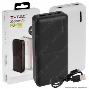 V-Tac VT-3520 Power Bank Portatile 20000 mAh 2 Uscite USB 2A - SKU 8903 / 8904
