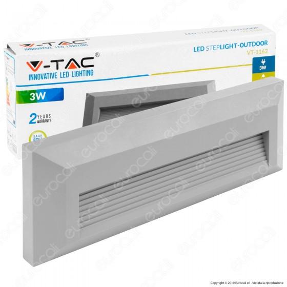 V-Tac VT-1162 Faretto Segnapasso LED a Montaggio Superficiale Rettangolare 3W per Esterno - SKU 1331 / 1330
