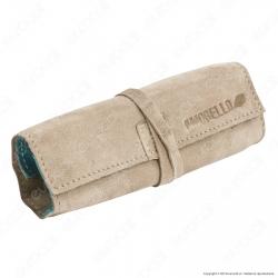 Il Morello Large Portatabacco in Vera Pelle Scamosciata Colore Sabbia e Turchese
