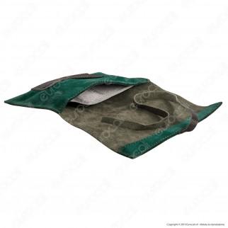 Il Morello Large Portatabacco in Vera Pelle Riciclata Marrone e Verde Smeraldo