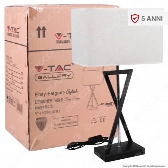 V-TAC VT-7712 Lampada da Tavolo con Portalampada per Lampadine E27 Paralume Effetto Tessuto - SKU 40381