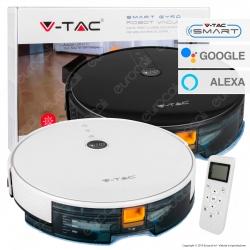 V-Tac VT-5555 Robot Aspirapolvere Lavapavimenti Smart Gyro Ricaricabile con Wi-Fi e Telecomando - SKU 8649 / 8650