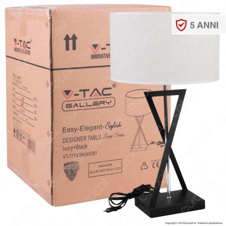 V-TAC VT-7713 Lampada da Tavolo con Portalampada per Lampadine E27 Paralume Effetto Tessuto - SKU 40391