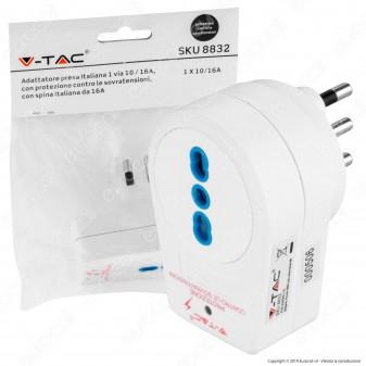 V-Tac Adattatore Singolo con Protezione Contro le Sovratensioni Colore Bianco - SKU 8832