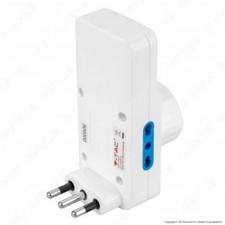 V-Tac Multipresa Adattatore Triplo Colore Bianco con Schuko 2 Porte USB