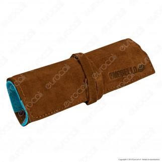 Il Morello Large Portatabacco in Vera Pelle Cuoio e Azzurro