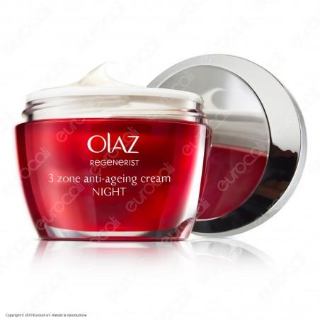 Olaz Regenerist Crema Viso Anti-Età Rassodante 3 Zone Antirughe Idratante Crema Notte - Confezione 50 ml
