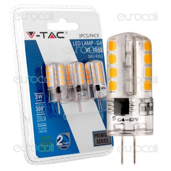 V-Tac VT-1963 Lampadina LED G4 3W Bulb - Blister 3 pz