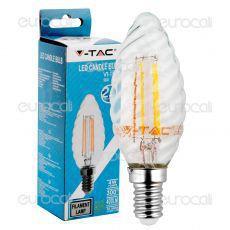 V-Tac VT-1985 Lampadina LED E14 4W Candela Twist Filamento