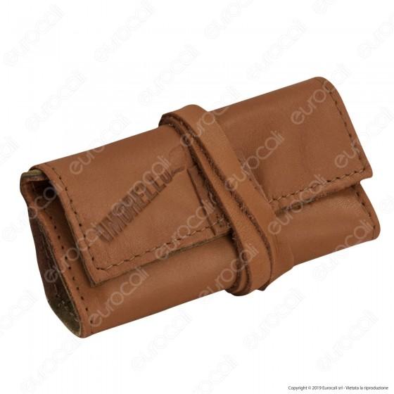 Il Morello Pocket Mini Portatabacco in Vera Pelle Colore Marrone Cuoio e Mimetico