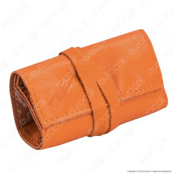 Il Morello Pocket Mini Portatabacco in Vera Pelle Colore Arancione