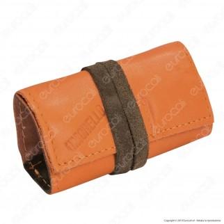 Il Morello Pocket Mini Portatabacco in Vera Pelle Colore Arancione e Verde Militare