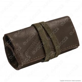 Il Morello Pocket Mini Portatabacco in Vera Pelle Colore Marrone Scuro e Verde Militare