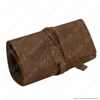 Il Morello Pocket Mini Portatabacco in Vera Pelle Colore Marrone e Cuoio