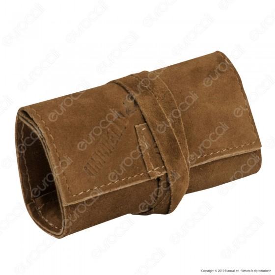 Il Morello Pocket Mini Portatabacco in Vera Pelle Scamosciata Colore Marrone Chiaro