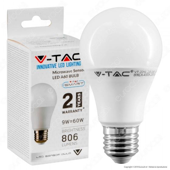 V-Tac VT-2219 Lampadina LED E27 9W Bulb A60 con Sensore di Movimento