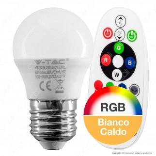 V-Tac VT-2224 Lampadina LED E27 3,5W MiniGlobo G45 RGB+W