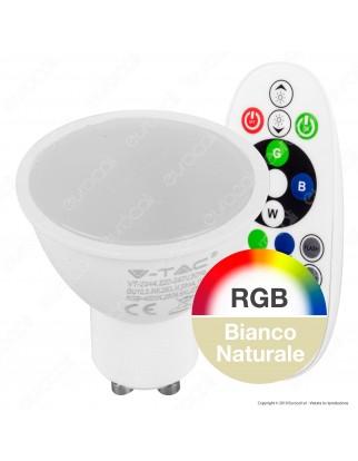 V-Tac VT-2244 Lampadina LED GU10 3,5W Faretto Spotlight 110° RGB+W