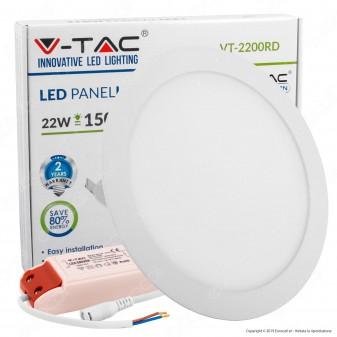 V-Tac VT-2200 RD Pannello LED Rotondo 22W SMD5630 da Incasso con Driver - SKU 4833