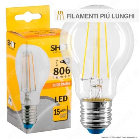 Bot Lighting Shot Lampadina LED E27 7W Bulb A60 Filamento Extra-Lungo - mod. WLD1008X2 / WLD1008X3